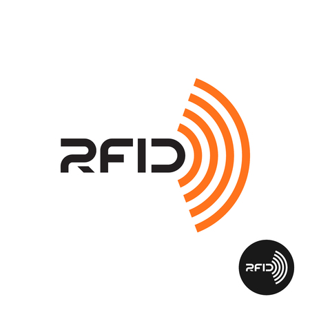 identification: RFID tag icon. Text  with radio wireless waves.