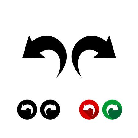 Deshacer y rehacer flechas conjunto de iconos negro