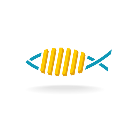 fry: Fish and chips logo. Fast food symbol with linear fish silhouette and french fry potato meal.