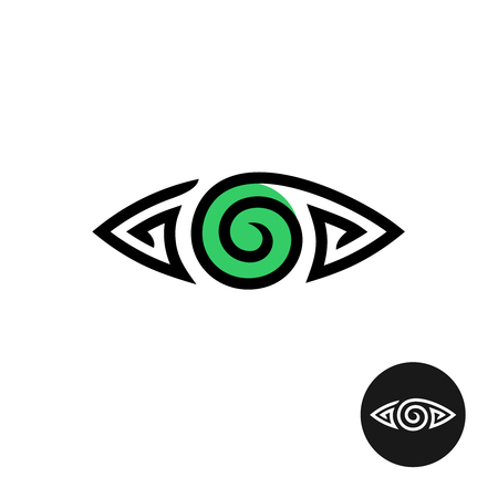 spiral: Eye logo. Spiral tribal style tattoo sign. Line stylized symbol.