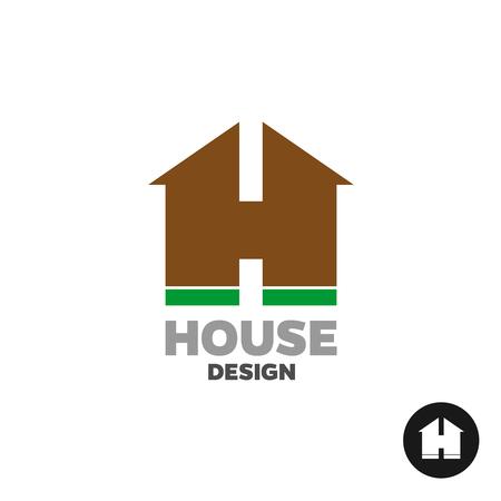 Letra H como una insignia de la casa silueta del edificio. Ilustración de vector