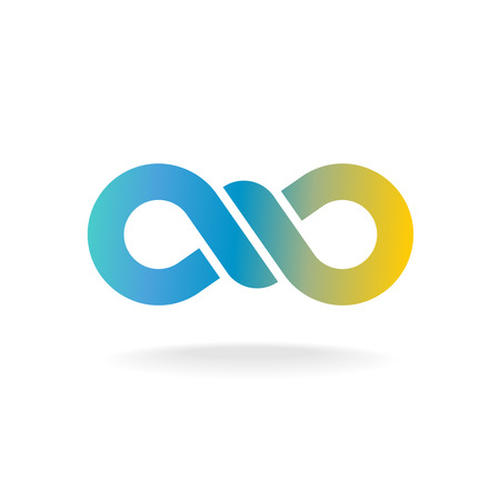 bind: Infinity knot logo. Colorful chain link symbol with knot in a center.