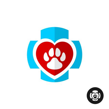 Huisdierenpoot liefde symbool met medische kruis. Vet kliniek logo. Huisdieren thuis veterinaire symbool. Logo