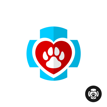 Pet paw love symbol with medical cross. Vet clinic logo. Home pets veterinary symbol.