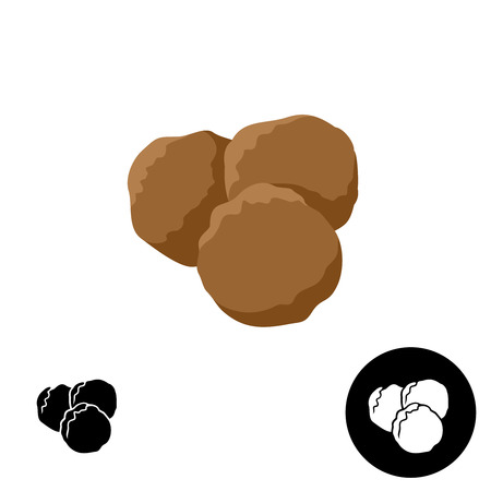 ground beef: Meatballs icon. Illustration of three round meatballs. Color and black versions.