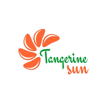 tangerine: Tangerine slices logo. Mandarine pieces as a sun rays symbol concept. Illustration