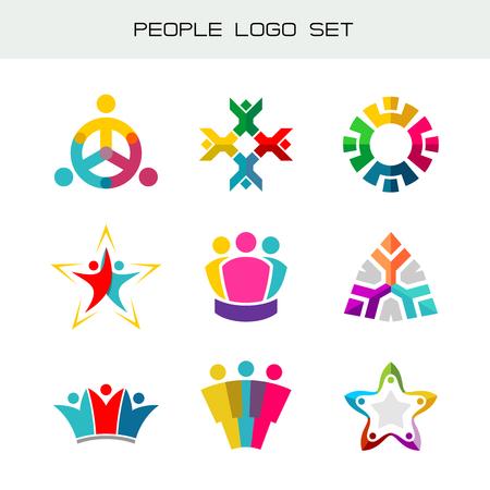 Conjunto de personas logotipo. Grupo de dos, tres, cuatro o cinco personas logotipos. símbolos de la red social. La gente feliz iconos de color.