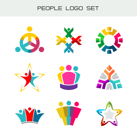 People logo set. Group of two, three, four or five people logos. Social network symbols. Happy people color icons.