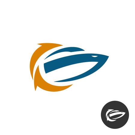 Yacht boot refresh schoonmaak logo concept. Schip silhouet met recycle pijlen symbool. Logo