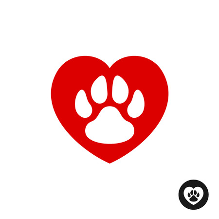 first love: Pet paw love logo. Animal footprint with heart silhouette around. Illustration