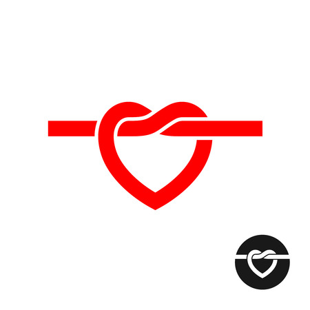 simple logo: Heart knot silhouette logo. Simple red heart rope symbol.
