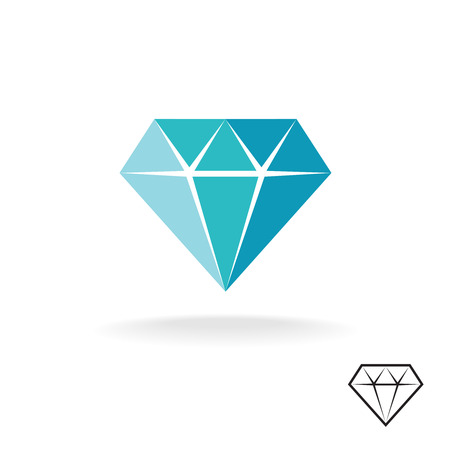 Diamond logo. Blue diamond symbol. Jewellery shop sign.