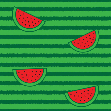 Watermelon hal? slices and peel seamless pattern Illusztráció