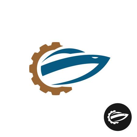Yate de la reparación y el logotipo del servicio. Repuestos símbolo del engranaje con la silueta de barco.