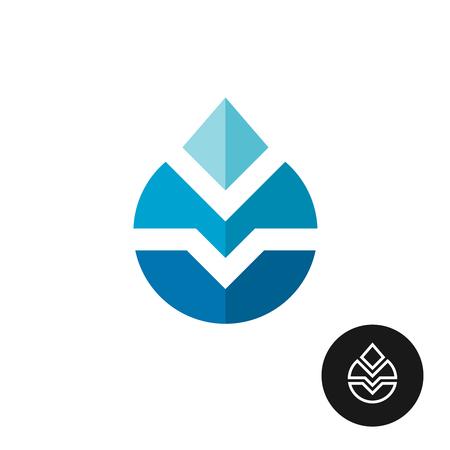 tech logo: Water drop industrial tech logo. With outline black version.