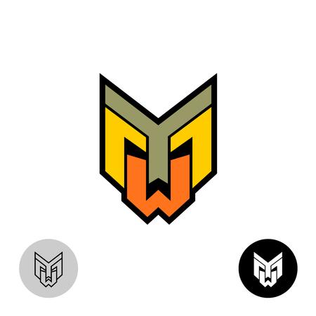 Evil daemon robot tech face logo. Letters Y, M and W monogram.
