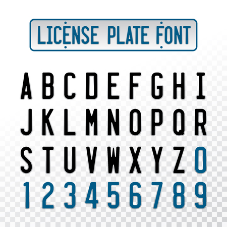 License plate font letters with embosse transparent overlay effect. Car number design alphabet. Stock Illustratie