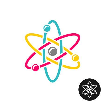 Atom logo. Colorful physics science concept symbol. Vettoriali