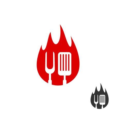 BBQ icône logo. Grill fourchette et spatule sur un fond en forme de feu. versions noir et rouge couleur. Logo