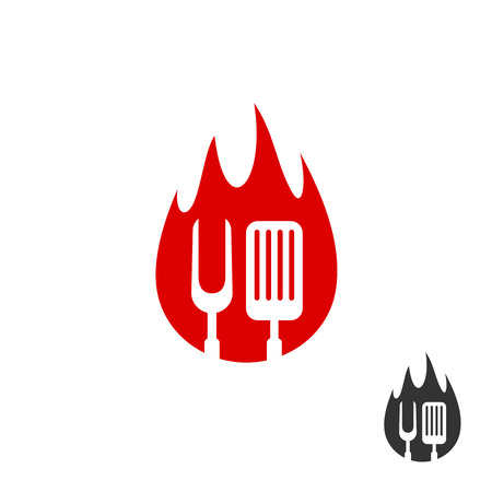 BBQ icon logo. Grill fork and spatula on a fire shape background. Black and red color versions. Illusztráció