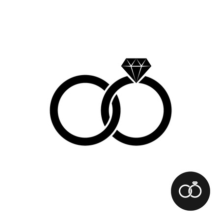 Wedding rings simple black icon. Two crossed rings with diamond engagement.