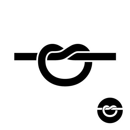 tied: Simple single knot black silhouette icon. Tied link logo.