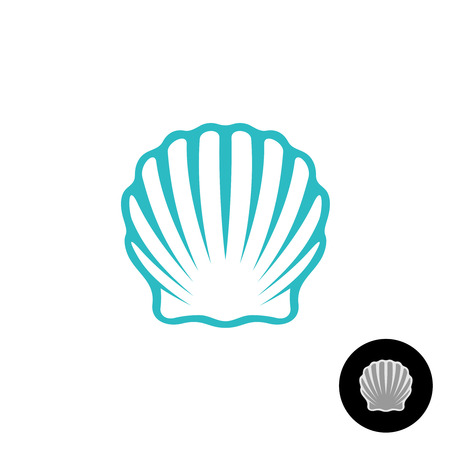 Seashell logo. Scallop seashell elegant symbol. Sea shell isolated silhouette.
