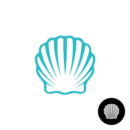 Seashell logo. Zeeschelp van de kammossel elegant symbool. Sea shell geïsoleerde silhouet. Logo