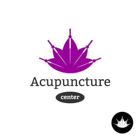 needles: Acupuncture center logo. Needles with lotus flower silhouette.