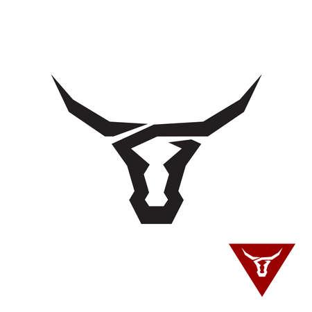 toros bravos: logo Bull. Negro plana símbolo del estilo del tatuaje de una cabeza de toro.