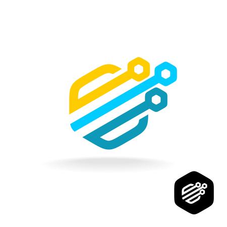 logotipo de tecnología. símbolo técnica colorido. Hexagonal redondeada estilo.