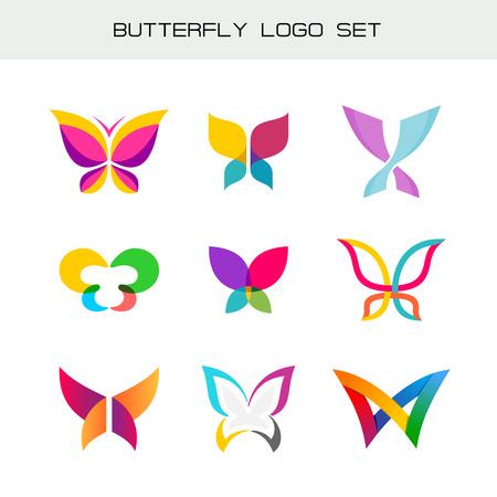Farfalla colorata set logo. Vividi colori simboli farfalla in uno stili diversi.