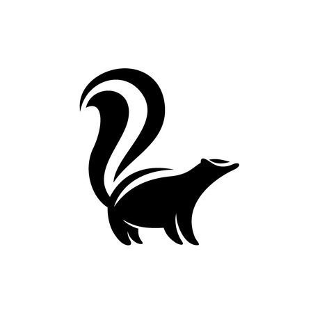 Skunk logo. Black flat color simple elegant skunk animal illustration.