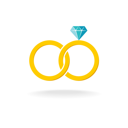 diamond rings: Wedding rings logo. Two golden crossed rings with blue diamond.