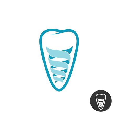 logotipo de implante dental. símbolo del esquema dientes con la muestra de implante de espiral estilizado.