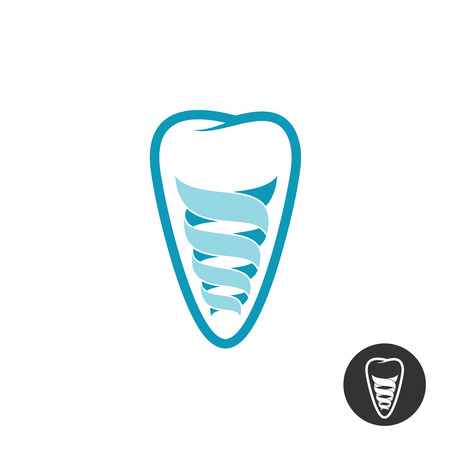Tooth implant logo. Teeth outline symbol with stylized spiral implant sign.