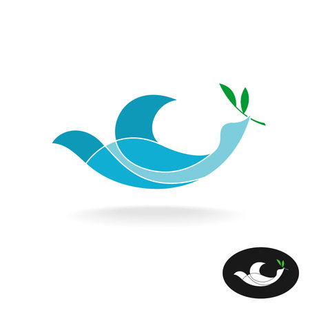 spirits: Dove of peace with olive brand colorful overlay transparent style logo template. Illustration