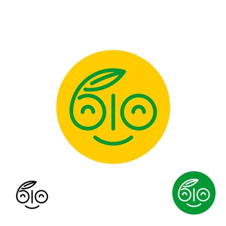 logo de comida: BIO símbolo letras. smiley diversión feliz logotipo de la cara. signo de alimentos orgánicos saludables lineal. Vectores