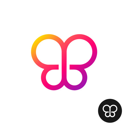butterfly stroke: Colorful butterfly logo. Linear geometric style circles symbol.