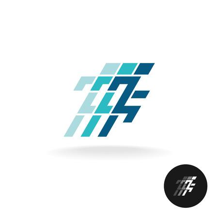 techno: Running man logo. Running athlette symbol in corner square style.
