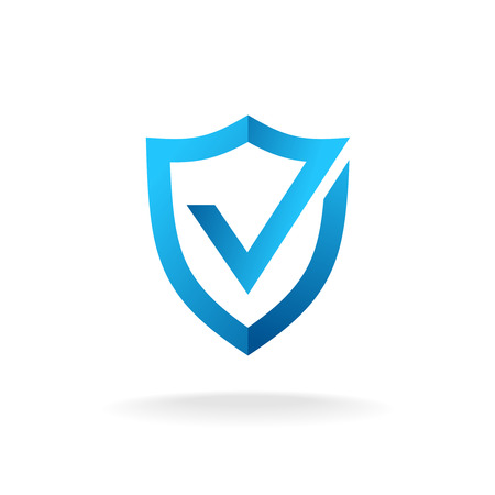Shield with check mark badge logo. Secure is ok sign. Blue colors.