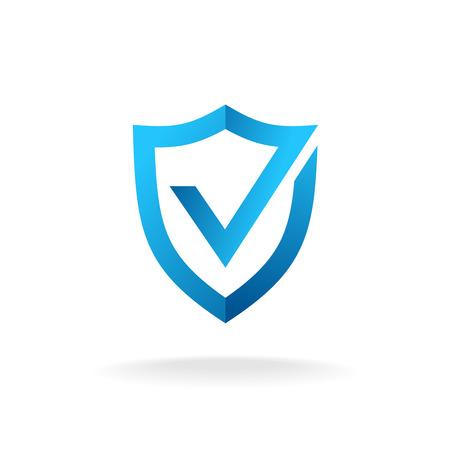 Escudo con insignia del logotipo marca de verificación. Secure es la muestra aceptable. colores azules. Logos