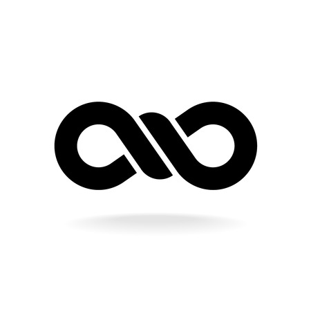 knot: Infinity knot logo. Black chain link symbol with knot in a center. Illustration