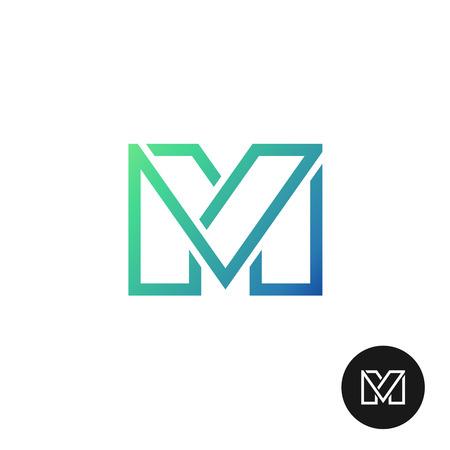手紙 M は、広い線スタイルのカラフルなロゴを分けられます。線形文字 M のシンボル。