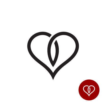 loops: Heart outline logo. Simple cross black wire style. Illustration