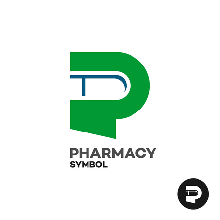 pharmacy store: Letter P pharmacy medicine logo with medicament drug pill silhouette.