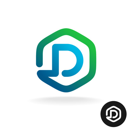 rounded: Letter D in a hex shape one line style logo template