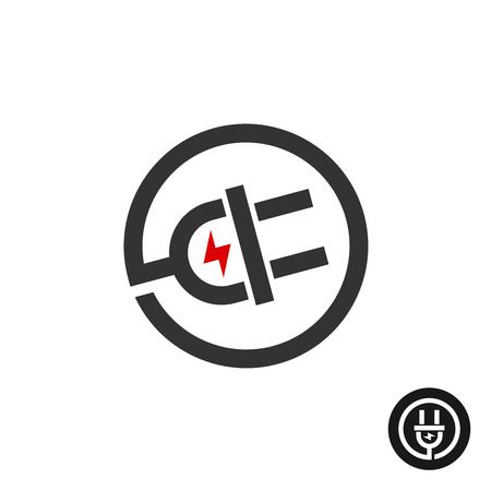 enchufe: Enchufe eléctrico en el icono de alambre. logotipo de la fuente de energía con la marca de un rayo de electricidad flash. Vectores