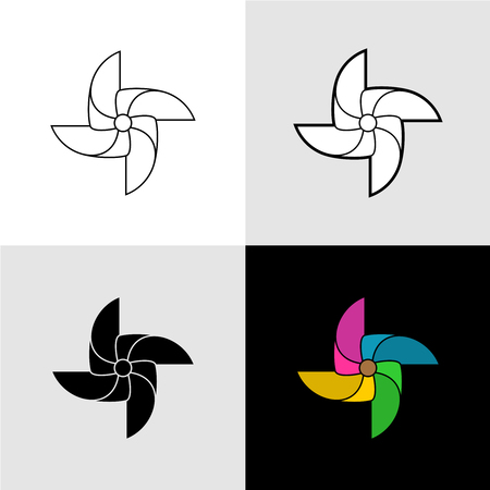 wind mill toy: Pinwheel vector silhouette logo illustrations. Set of flat color, black solid and outline versions.