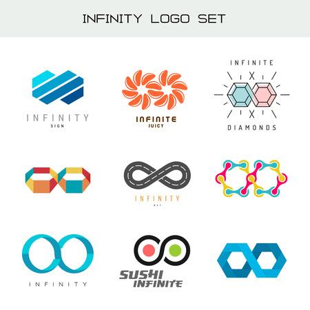 infinity road: Infinity logo set. Infinity color symbols. Infiniti logos.